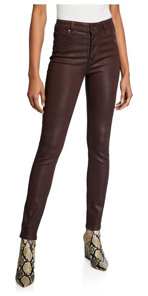 PAIGE Hoxton Ultra-Skinny Coated Jeans in chicory coffee