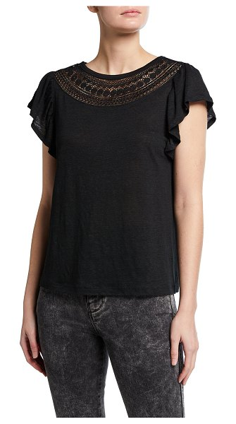 PAIGE Lumina Flutter-Sleeve Tee with Lace in black