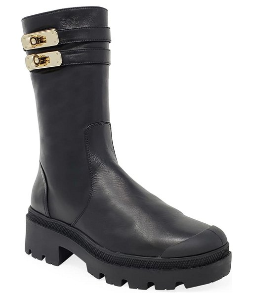 Palladium pallabase mete genuine shearling lined boot in black faux leather