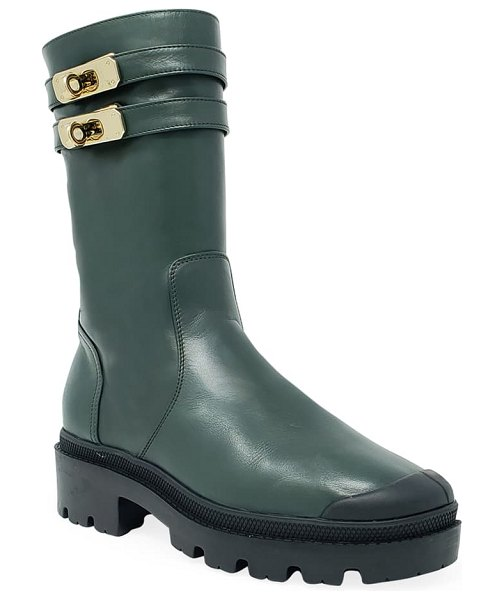 Palladium pallabase mete genuine shearling lined boot in olive green faux leather