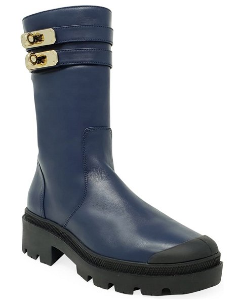 Palladium pallabase mete genuine shearling lined boot in mid blue faux leather