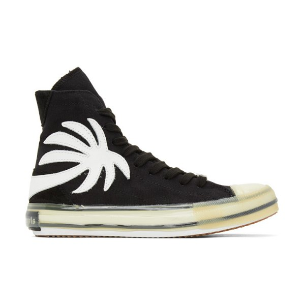 Palm Angels black vulcanized palm sneakers in black white