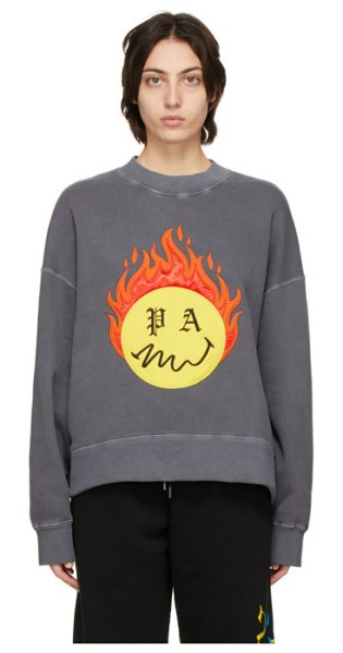 Palm Angels grey smileyâ® edition burning head sweatshirt in black yellow