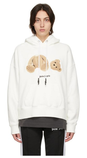Palm Angels white bear hoodie in white brown