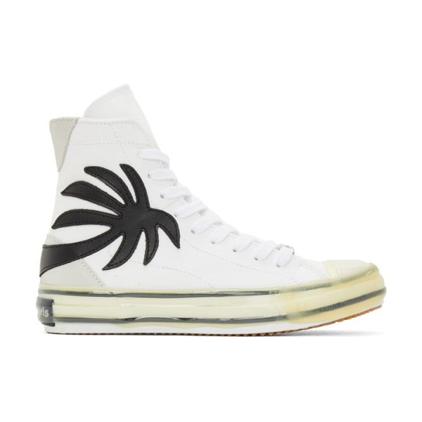 Palm Angels white vulcanized palm sneakers in white black