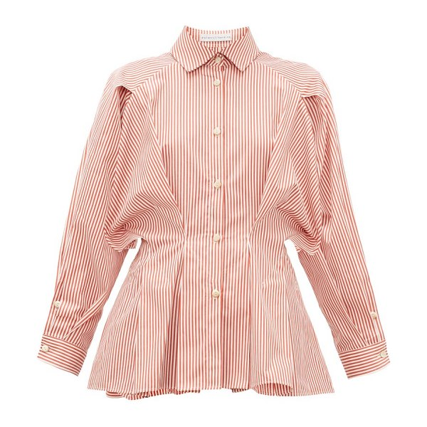 PALMER/HARDING palmer//harding - sunda pleated striped cotton-poplin shirt in red white