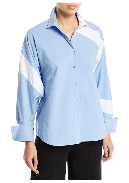 PALMER/HARDING Solo Striped Cotton Paneled Button-Front Shirt in blue