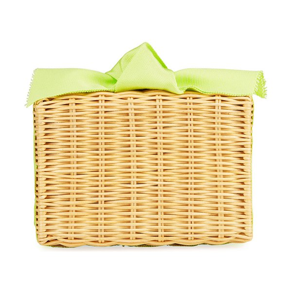 PAMELA MUNSON The Charlotte Woven Clutch Bag in lime