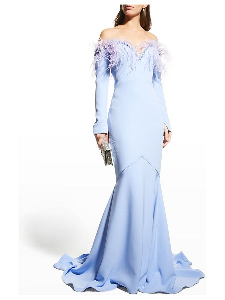Pamella Roland Off-The-Shoulder Crepe Gown w/ Crystal & Feather Trim in powder blue