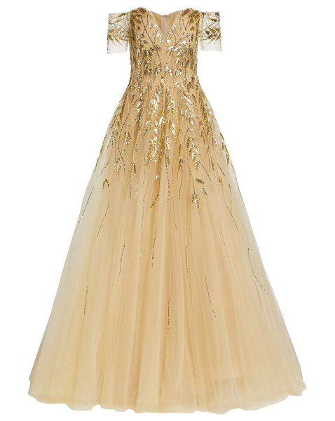 Pamella Roland off-the-shoulder embellished tulle gown in gold
