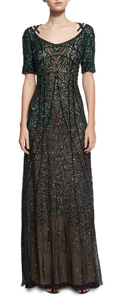 PAMELLA ROLAND Sequined Chiffon Evening Gown - Pamella Roland gown in sequined, embroidered chiffon with...