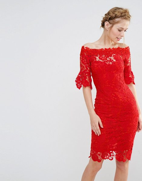 Paper Dolls off shoulder crochet dress with frill sleeve-red in red