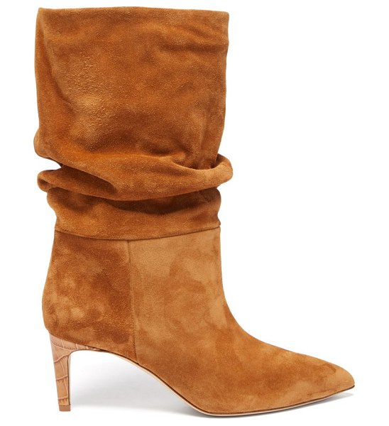 Paris Texas slouchy suede boots in tan