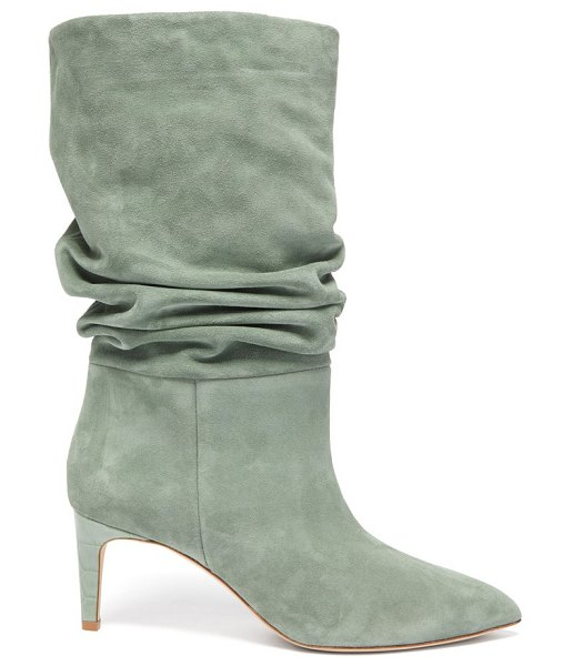 Paris Texas slouchy suede boots in khaki