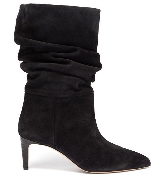Paris Texas slouchy suede boots in black