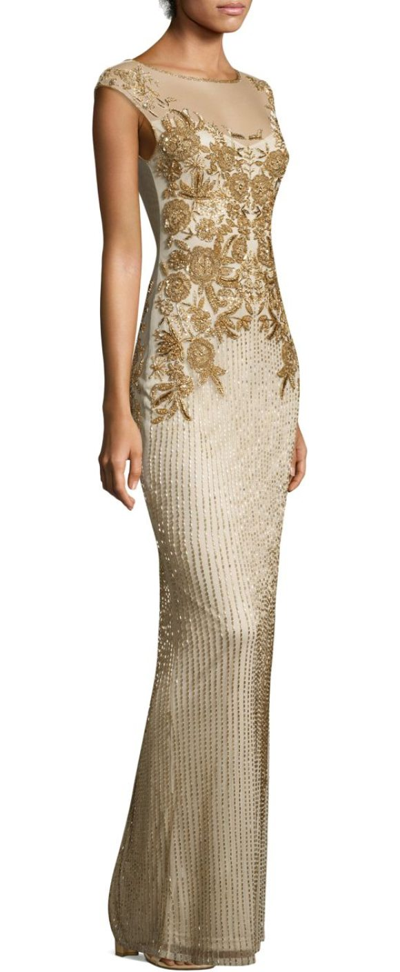 Parker Black allie floor-length dress in gold - Figure-hugging dress with ornate floral design. Bateau...