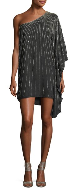 PARKER BLACK Daphine One-Shoulder Beaded Silk Chiffon Cocktail Dress ...