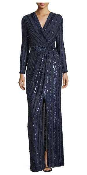 "PARKER BLACK Joyce Long-Sleeve Sequin & Bead Evening Gown - Parker Black ""Joyce"" gown featuring sequin and beaded..."