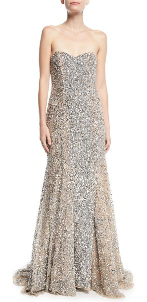 Parker Black Renee Strapless Sweetheart Beaded Gown in Gray | Shopstasy