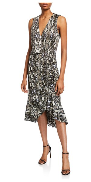 Parker Briony Python-Print Ruched Ruffle Dress in neutral python