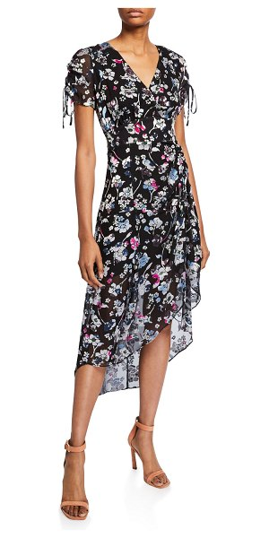 Parker Lizzy Draped Floral High-Low Dress in multi cosmo