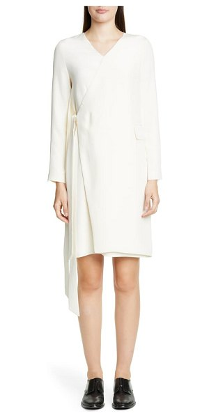 PARTOW parquis long sleeve faux wrap silk dress in ivory