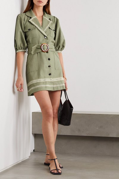 PatBo belted embroidered gauze mini dress in army green