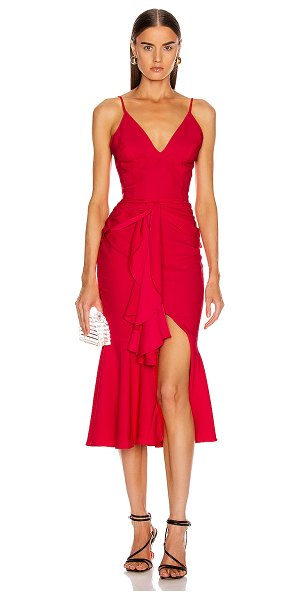 PatBo bo ruffle midi dress in deep pink