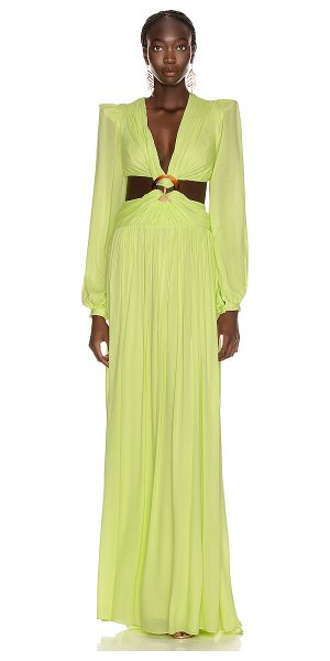 PatBo for fwrd neon cutout gown in lime