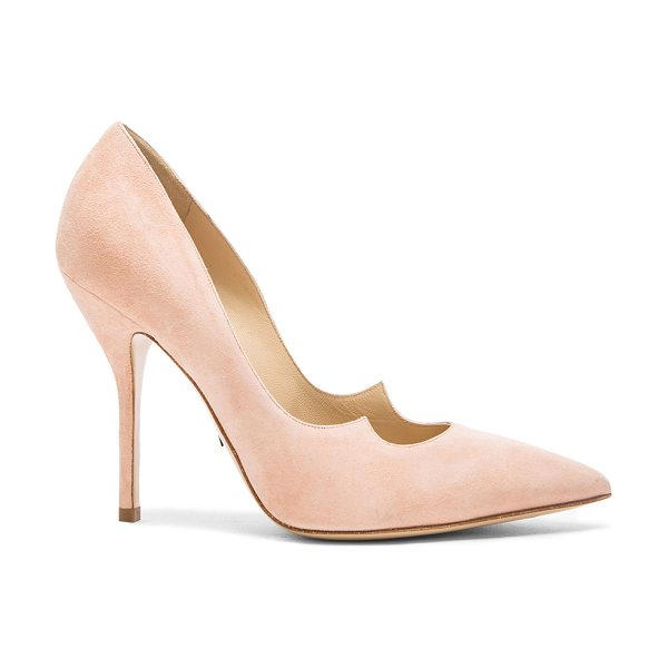 Paul Andrew Zenadia Heel in neutrals - Suede upper with leather sole.  Made in Italy.  Approx...