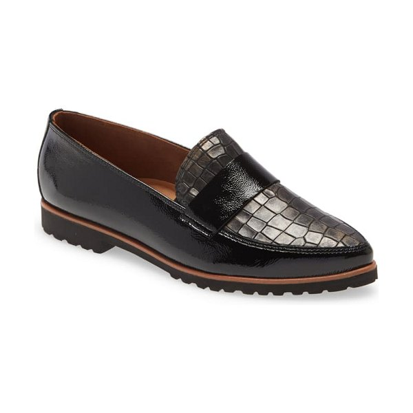 Paul Green dara loafer in black lizard