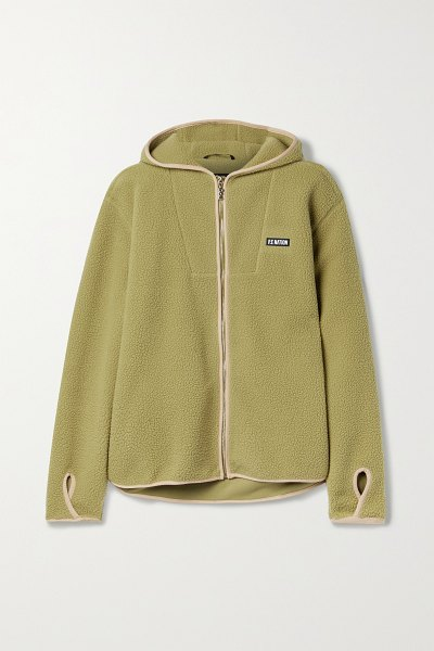 P.E NATION point in line hooded embroidered fleece jacket in green
