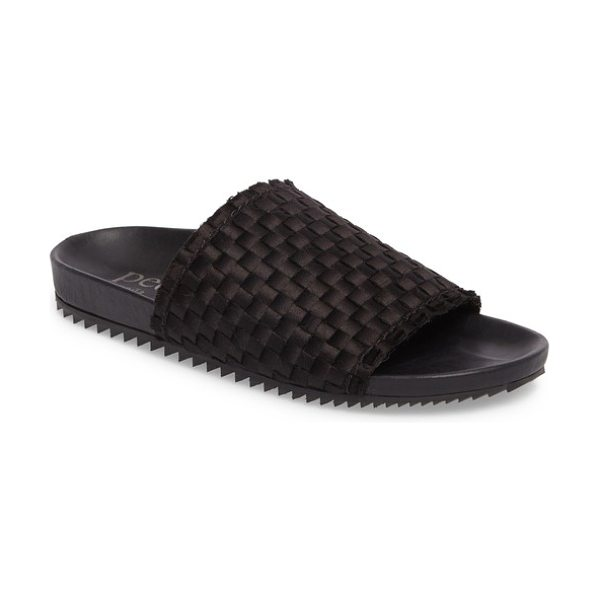 Pedro Garcia aila woven slide sandal in black satin - A woven satin vamp adds a bit of shimmer to a chic slide...