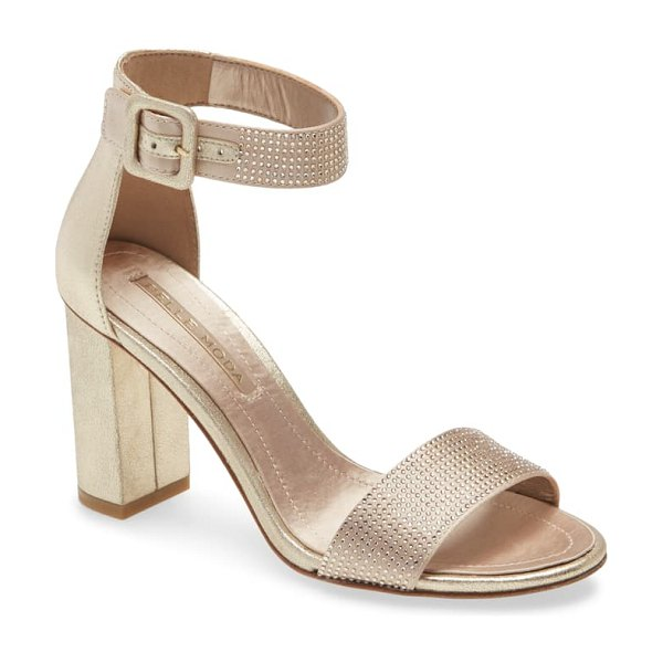 Pelle Moda zoey ankle strap sandal in platinum gold suede