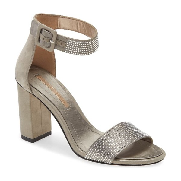 Pelle Moda zoey ankle strap sandal in pewter suede