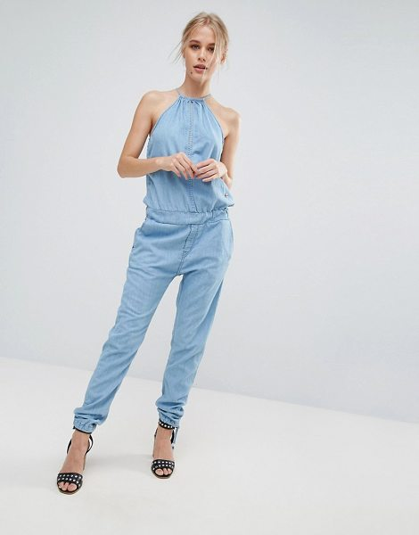 "Pepe Jeans Lopez Halterneck Denim Jumpsuit in blue - """"Jumpsuit by Pepe Jeans, Cotton-rich denim, Halter..."