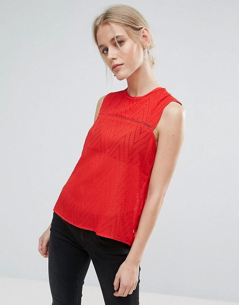"Pepe Jeans Ricky Smock Tank in red - """"Tank by Pepe Jeans, Textured woven fabric, Semi-sheer..."