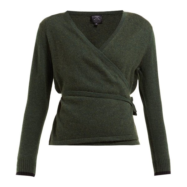 PEPPER & MAYNE wrap cashmere and wool blend cardigan in dark green - Pepper & Mayne - Pepper & Mayne's activewear offering is...