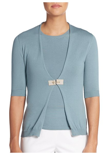 Peserico Embellished-Closure Cotton Cardigan in teal blue