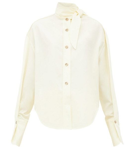 Petar Petrov beatrix cotton blend poplin shirt in yellow