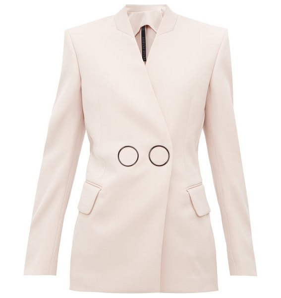 Petar Petrov jestine collarless double breasted wool jacket in light pink