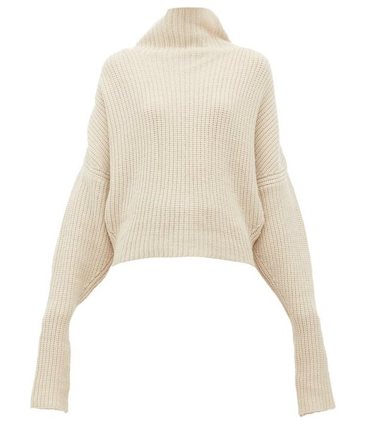 Petar Petrov kate funnel neck ribbed cashmere sweater in beige