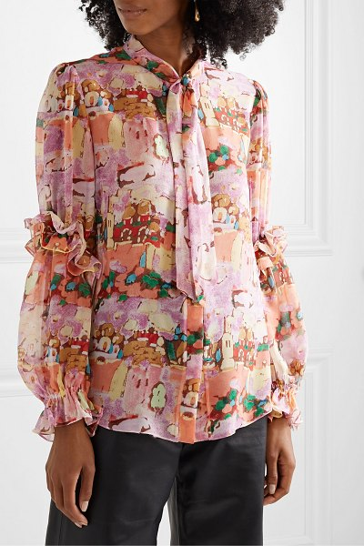 Peter Pilotto pussy-bow ruffled printed silk-georgette blouse in pink