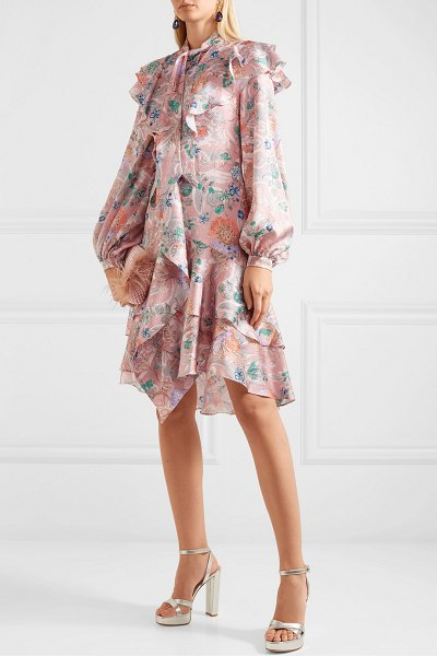 Peter Pilotto ruffled floral-print hammered silk-blend dress in pink