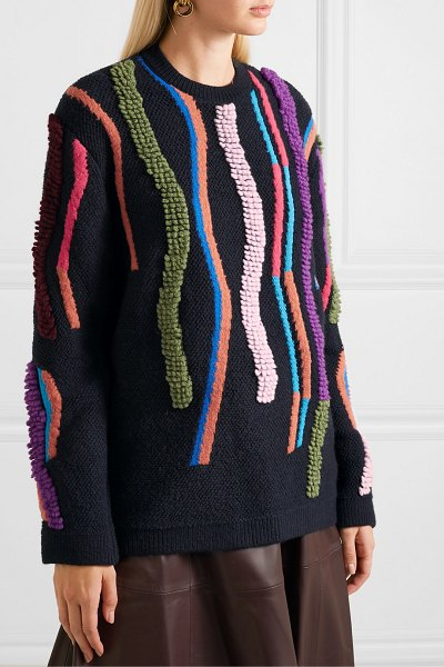 Peter Pilotto wool-blend jacquard sweater in navy