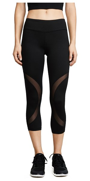 Phat Buddha rao leggings in caviar - Cropped Phat Buddha leggings with curving mesh panels....