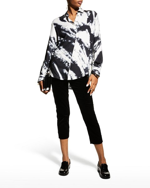 Piazza Sempione Blurry Abstract Print Button-Down Shirt in black/white