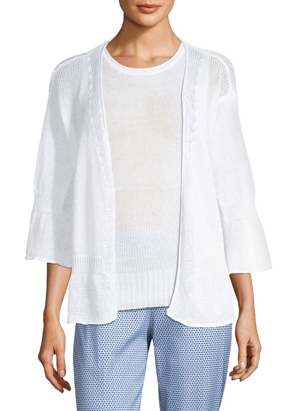 PIAZZA SEMPIONE linen cotton knit cardigan in white - Lightweight linen and cotton cardigan with knitted...