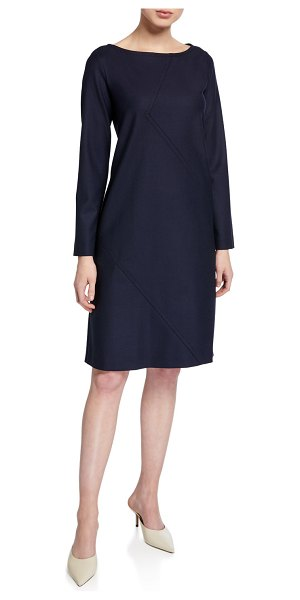 Piazza Sempione Long-Sleeve Seamed Shift Dress in blue