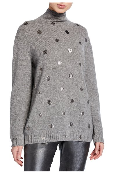 Piazza Sempione Mock-Neck Silver-Dotted Sweater in gray
